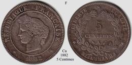 F-1882 A, 5 Centimes - Francia