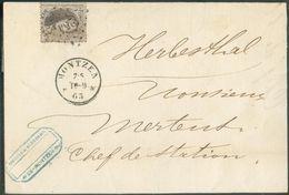 N°14 - Médaillon 10 Centime Brun Obl. LP.254 Sur Lettre De MONTZEN * Vers Herbesthal, Ex-collection Scheerlinck. -   124 - 1863-1864 Médaillons (13/16)