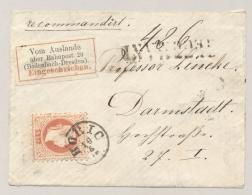 Österreich / Deutschland - R-Coverfront From HORIC With 5Kr Franz Joseph Eingeschrieben Vom Auslande über Bahnpost 20 - 1850-1918 Keizerrijk