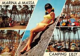 Cartolina Marina Di Massa Camping Lilly Pin Up  Vedutine - Massa