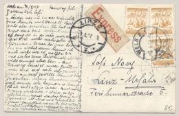 Österreich - 1927 - 3x 10 Gr On Express-photo-card Sent From WELS To LINZ - 1918-1945 1ste Republiek