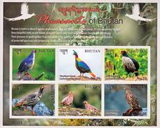 BHUTAN- 2017 LATEST ISSUE- BIRDS- PHEASANTS- COMPLETE SET-MNH Sheetlet + M/S ( Vögel-Fasane-Oiseaux-faisans-) - Bhutan