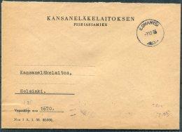 1955 Finland Kansanelakelaitoksen Ilomantsi Cover - Helsinki - Covers & Documents