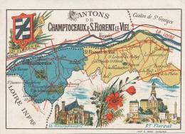 Chromo Cantons De Saint Florent Le Vieil Et Champtoceaux Maine Et Loire Publicité Librairie Sainte Croix Magasin Angers - Other