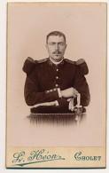 Photographie Ancienne XIXème Militaire Du 77e Régiment Et Sa Baïonnette CDV Photo Héon à Cholet - Guerra, Militares