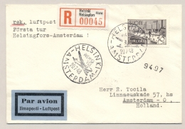 Nederland / Finland - 1948 - First Flight R-cover Helsinki - Amsterdam - Brieven En Documenten