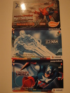 3 Remote Phonecards From Indonesia - Marvel - Indonesia