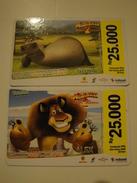 2 Remote Phonecards From Indonesia - Cartoon - Madagascar - Indonesia