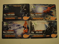 4 Remote Phonecards From Indonesia - Spiderman - Indonesia