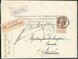N°77 - 35 Centimes Brun Obl. Sc SAINT-NICOLAS Sur Lettre Recommandée Du 16 Juin 1907 Vers Stekene (biffé) + Etiq. Retour - 1905 Grove Baard