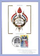 Carte FDC Vignette Soie - 13 Oct 90 - Paris (75) - 2,50F. Création Du Drapeau Tricolore - Cartoline Maximum