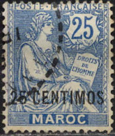 Maroc (Bur.Fr) Poste Obl Yv:14 Mi 14 Yv:3 Euro Mouchon T2 Retouché (TB Cachet Rond) - Morocco (1891-1956)