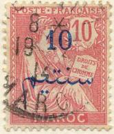 Maroc (Bur.Fr) Poste Obl Yv:29 Mi 29 Yv:0,5 Euro Mouchon T2 Retouché (TB Cachet Rond) - Morocco (1891-1956)