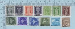 Inde -  13 Timbres Usagés Mais Sans Marque  De Cancellation, No Killer Postmark - Inde