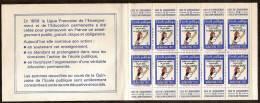 Erinophilie Carnet 10 Vignettes  Quinzaine De L'école Publique 1972 - Commemorative Labels