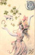 [DC11394] CPA - BELLA CARTOLINA PORTA FORTUNA QUADRIFOGLIO FERRO CAVALLO MAIALINO - PERFETTA - Viaggiata - Old Postcard - Illustratori & Fotografie