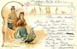 [DC11396] CPA - BELLA CARTOLINA LIBERTY - SLITTA SU GHIACCIO - PERFETTA - Viaggiata 1903 - Old Postcard - Illustratori & Fotografie