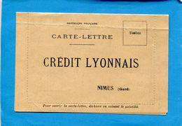 """Marcophilie- Carte Lettre """"CREDIT LYONNAIS -NIMES"""" Accusé De Réception  Juin 1933 à Renvoyer - Advertising"""