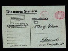 A5104) DR Infla Karte PFS Stettin 20.9.21 Werbekarte Nach Chemnitz - Briefe U. Dokumente
