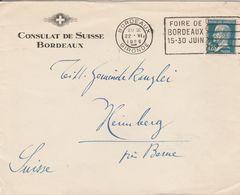France Timbre N°180 Sur Lettre De Bordeaux Pour La Suisse 1926 - Postmark Collection (Covers)
