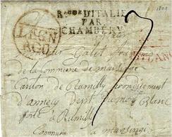 Non Datée- Enveloppe De LEGN / AGO  Transit  MILANO  + ROYAUME D'ITALIE / PAR / CHAMBERY  Noir - 1. ...-1850 Prefilatelia