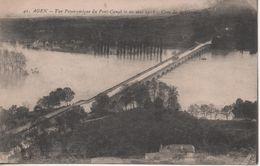 AGEN VUE PANORAMIQUE DU PONT CANAL LE 10 MAI 1918 CRUE DE LA GARONNE - Agen
