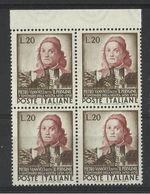 1951 Italia Italy Repubblica IL PERUGINO 4 Serie: Quartina MNH** Bl.4 - Art