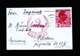 A5106) Rumänien Romania Kleiner Drucksachebrief Nach Potsdam - 1918-1948 Ferdinand, Charles II & Michael