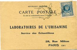 POLOGNE CARTE POSTALE BON POUR UN FLACON ECHANTILLON D'URISANINE DEPART BEREZA-KARTUZKA 11 XI 25 POUR LA FRANCE - 1919-1939 Republic
