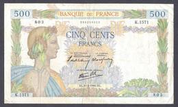 500 Francs La Paix 5-12-1940 - 1871-1952 Gedurende De XXste In Omloop