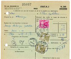 BORDEREAU DES DOUANES 1958 PARIS R.P. DOUANES CACHET SPECIFIQUE SUR TAXE GERBES - Marcofilie (Brieven)