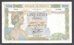 500 Francs La Paix 6-2-1941 - 1871-1952 Anciens Francs Circulés Au XXème