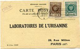 POLOGNE CARTE POSTALE BON POUR UN FLACON ECHANTILLON D'URISANINE DEPART VARSOVIE 30 IV 25 POUR LA FRANCE - 1919-1939 Republik