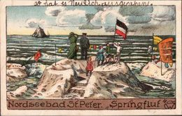 ! Alte Ansichtskarte St. Peter Ording, Nordsee, Steindruckkarte - St. Peter-Ording