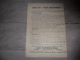 Document ( 265 ) Hoe 50 % Hop ( Houblon ) Besparen - Louis Pletsers Mechelen  Malines - Ohne Zuordnung
