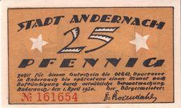 Deutschland Notgeld 25 Pfennig ANDERNACH /51M/ - Lokale Ausgaben