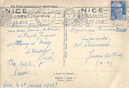 NICE Flamme 01.01.1951 Bel Affranchissement Premier De L'An 1951 Sur CPM Entière - Errors & Oddities