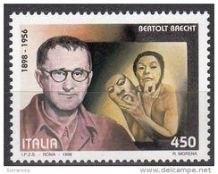 2455 Italia 1998  Bertolt Brecht (1898-1956)  Nuovo MNH Scrittore Poeta Tedesco - Premio Lenin Per La Pace - Ecrivains
