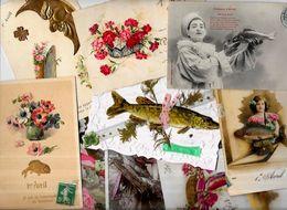 Lot 1154 De 10 CPA Poisson D'avril Premier Avril Fantaisies Déstockage Pour Revendeurs Ou Collectionneurs - Cartes Postales
