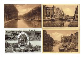 Lot 4 Cpa - Amsterdam - Bateau Péniche - Tramway - Amsterdam