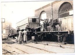 Photographie Original Grande Guerre 14.18 NOYON Oise La Gare Soldats Allemands Menagement Dutroux Rue Du Martin Transpor - Noyon