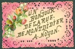 60 - Oise - NOYON Un Bonjour De La Rue De Mondidier, Belle Cpa Dentelles TBE - Noyon