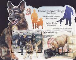Malaysia 2018-1 Working Dogs M/S MNH Fauna Police Drug Zodiac Unusual (shape) - Malesia (1964-...)