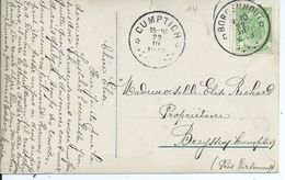 Fantasiekaart Met OCB 83 - Afstempeling BORGERHOUT / CUMPTICH Relais  - COBA 50 - 1893-1907 Wapenschild