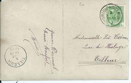 Fantasiekaart  Met OCB 83 - Afstempeling HORION-HOZEMONT- COBA 15 - 1893-1907 Wapenschild