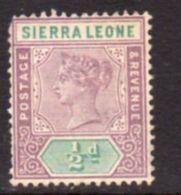 Sierra Leone QV 1896-7 ½d Definitive, Wmk. Crown CA, Hinged Mint, SG 41 (BA) - Sierra Leone (...-1960)