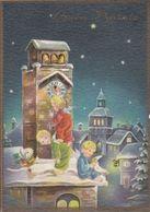 FESTE AUGURI - Buon Natale - Merry Christmas - Joyeux Noël - Angioletti Sul Tetto E Orologio - 1967 - Natale