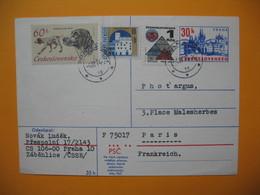 Entier Postal  De 30h Complète De Praha Zabehlice  Pour La France  1974 - Postal Stationery