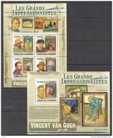 U447 2009 T UNION DES COMORES ART VINCENT VAN GOGH 1KB+1BL MNH - Impressionisme