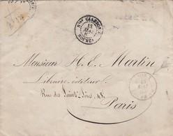 LETTRE NOUVELLE CALEDONIE. 13 MAI 1885. NOUMEA POUR PARIS. LIGNE T. PAQ. FR. N°6.(MANQUE LE TIMBRE) - Storia Postale